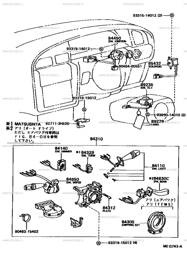 Предохранители и реле Тойота Камри 30