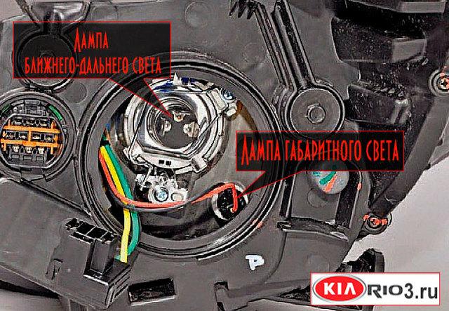 Замена ламп Киа Рио 3